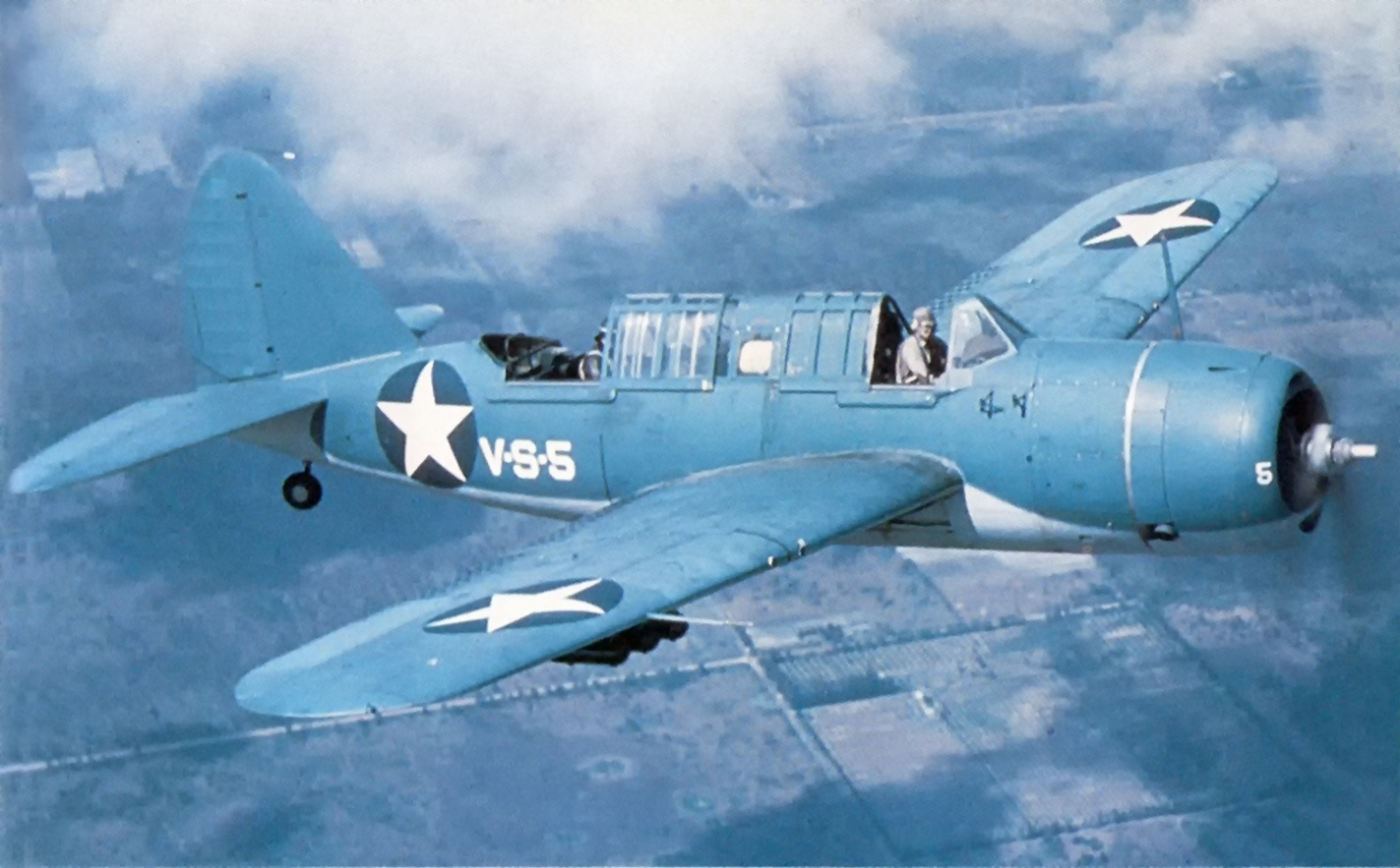 A U.S. Navy Brewster SB2A-4 Buccaneer in flight near Vero Beach, Florida (USA), in 1942