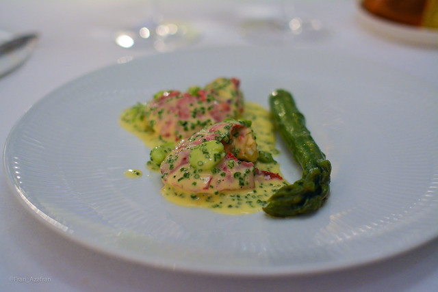 Danish black lobster, green asparagus - Lammefjords fricassee.