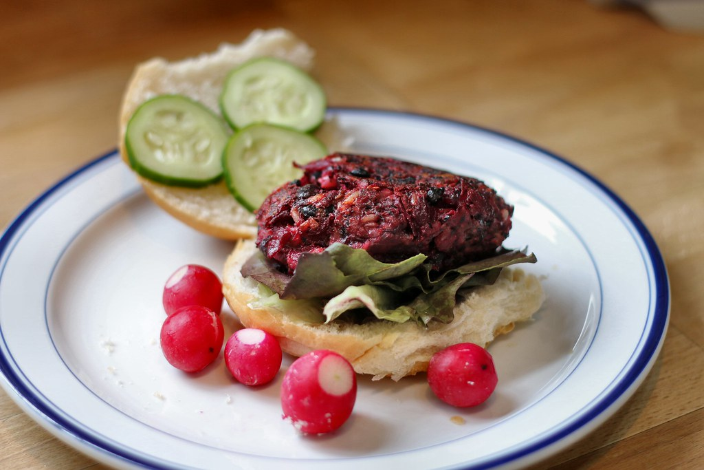Beetroot & black bean burger in bun