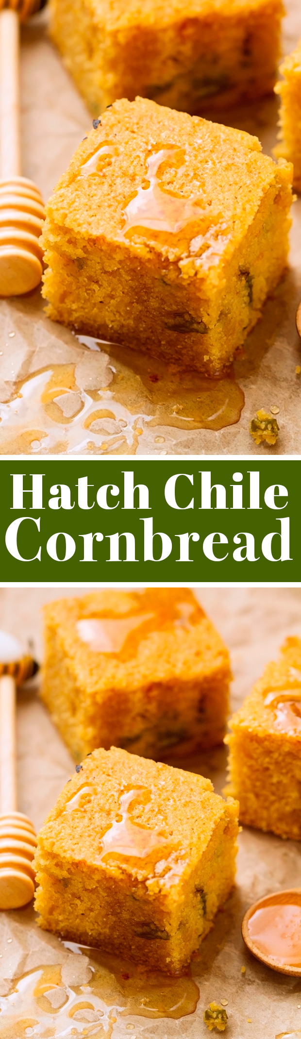 Hatch Chile Cornbread - speckled with hatch peppers but with a sweet savory feel. You're gonna be addicted! #cornbread #hatchchile #hatchchilecornbread | Littlespicejar.com @littlespicejar
