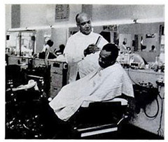 Gardner Bishop in his barbershop: 1974