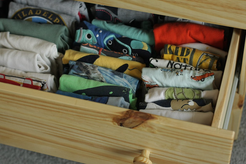 L's drawer of shirts and pants Konmari style!