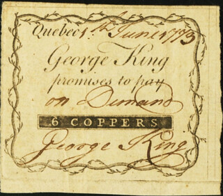 Quebec, George King 6 Coppers June 1, 1773 note