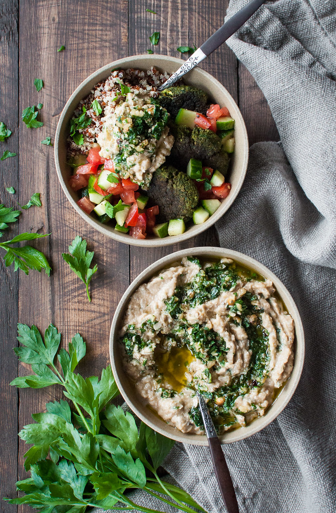 GF/vegan quinoa bowl with green falafel and salsa verde zucchini dip
