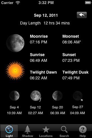 LightTrac: App calcular puesta de sol