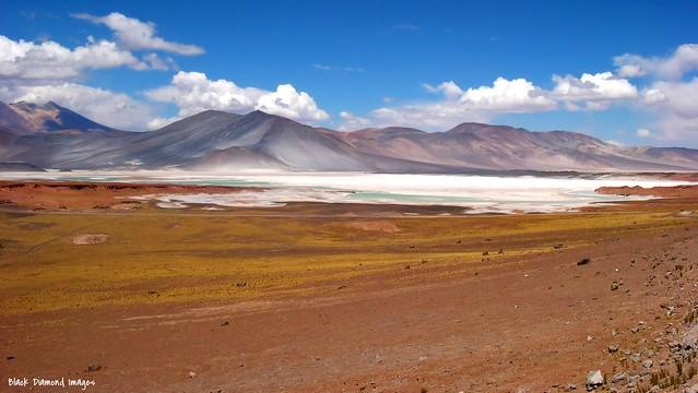 Cerro Miscanti, Cerro Miniques, Cerro Medano & Salar de Aguas Calientes near Socaire, San Pedro  de Atacama, El Loa Province, Antofagasta Region, Chile