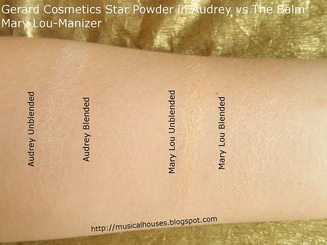 Gerard Cosmetics Star Powder Audrey TheBalm Mary Lou Manizer Swatches Comparison