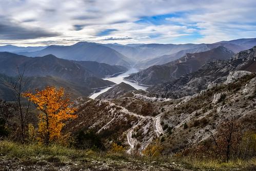 autumn mountain lake mountains tree nature clouds landscape macedonia mountainside windingroad mountainscape lakescape mountainridge kozjak lakekozjak