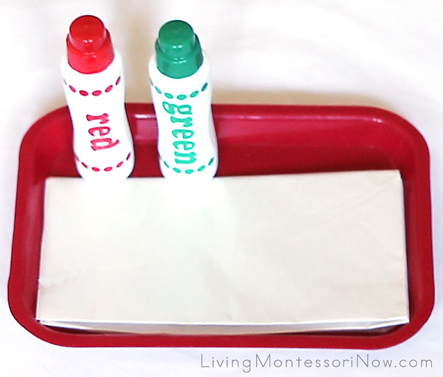 Montessori-Inspired Christmas Do-a-Dot Wrapping Paper Tray