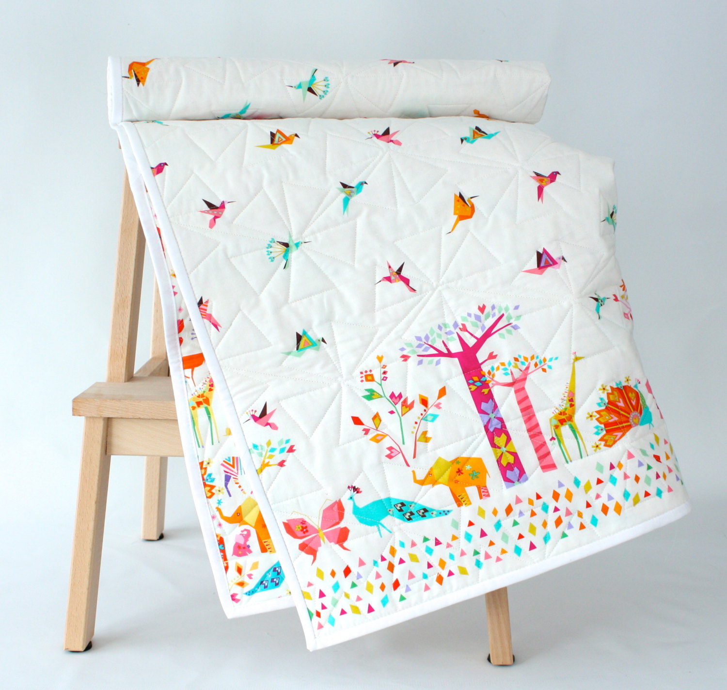 Origami Cranes and Animals Modern Baby Quilt