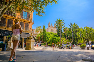 Image of  cathedral. road travel pink summer urban woman house tourism church girl architecture landscape island spain europe cathedral path sony sigma august tourist mallorca narrow attraction majorca urbanlandscape palmademallorca 19mm narrowalley laseu palmacathedral southeurope nex6 tommiehansen isladebalaeres