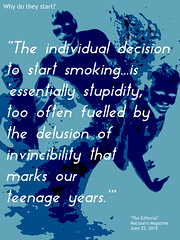 Quotation attempting explain why people begin smoking