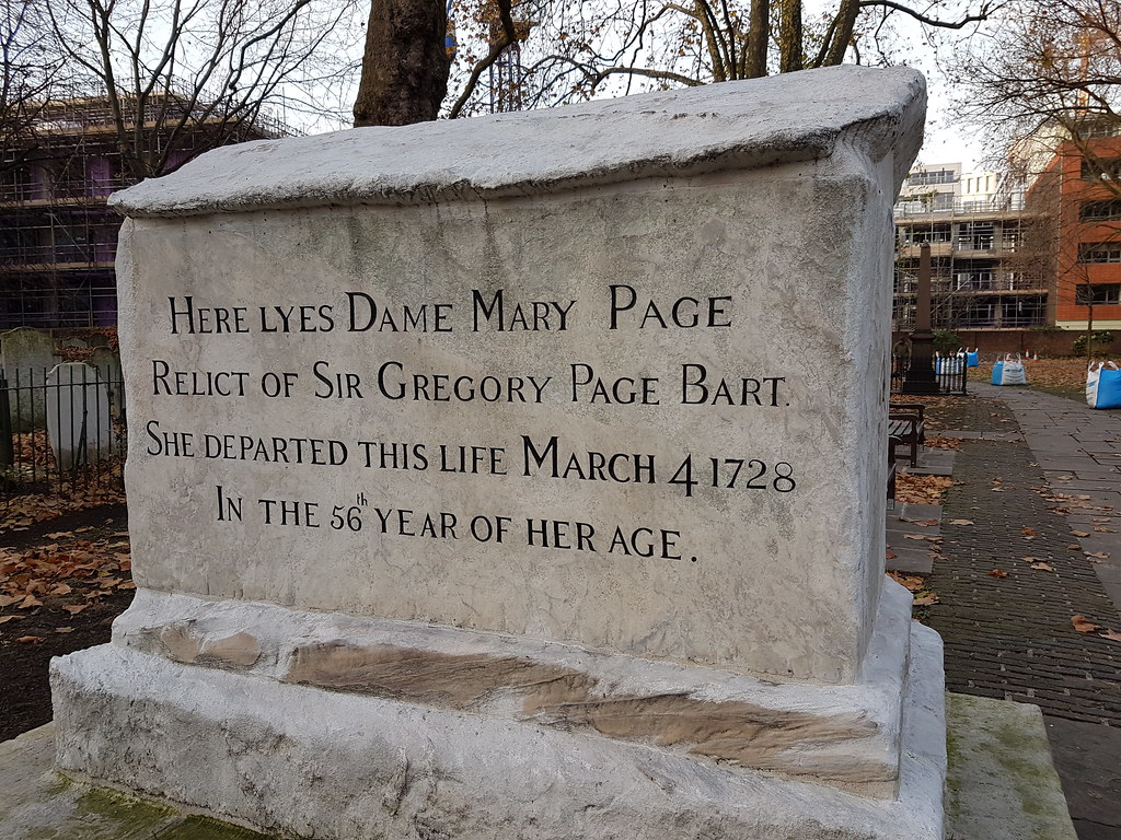 Monument of Dame Mary Page (died 1729)  | The inscription re