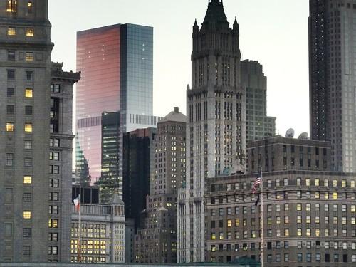 Sunset hues, municipal and judicial buildings, New York City