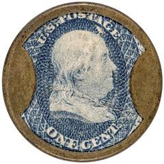 One Cent Tremont House encased postage stamp obverse