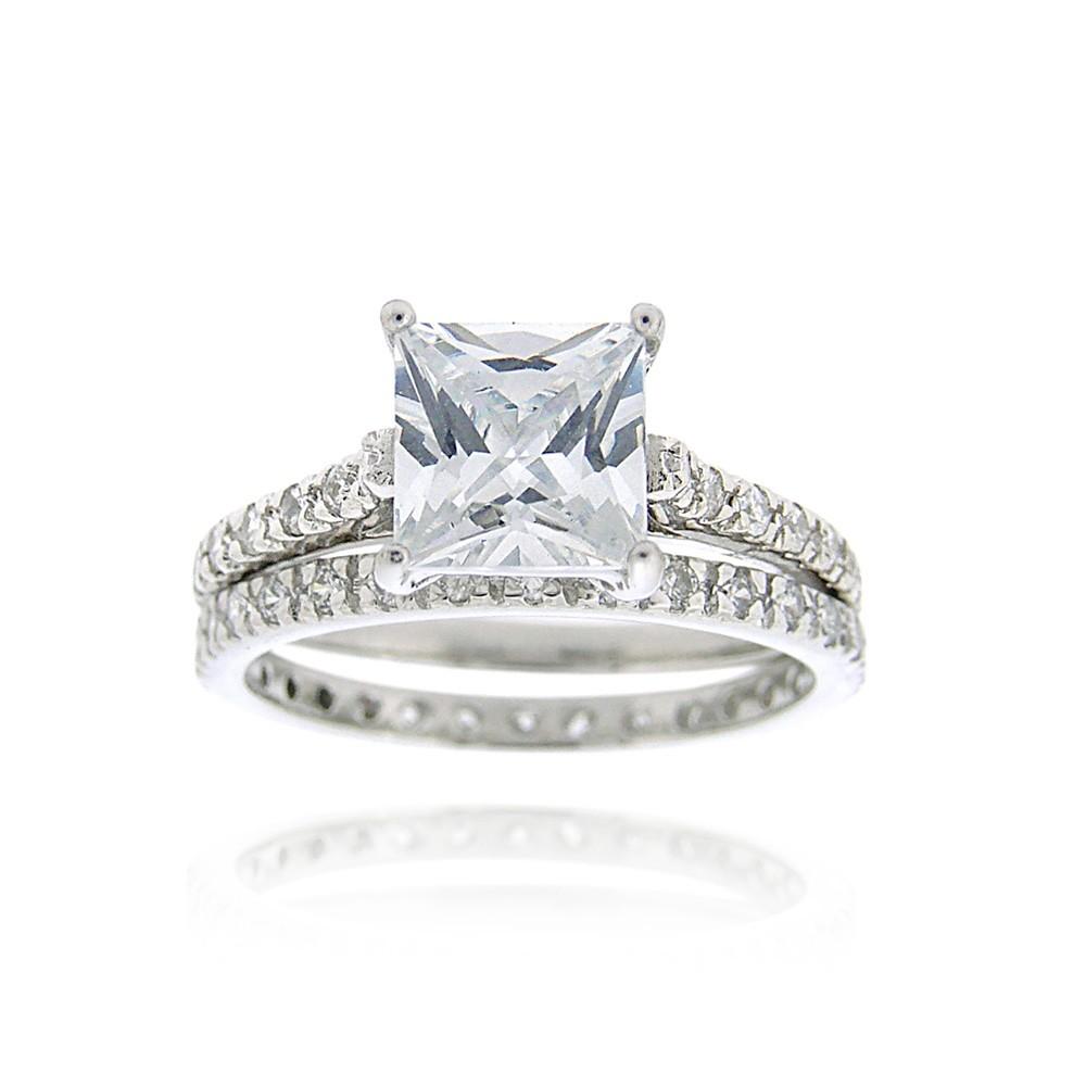 925 sterling silver 2ct princess cut cz bridal ring set ebay