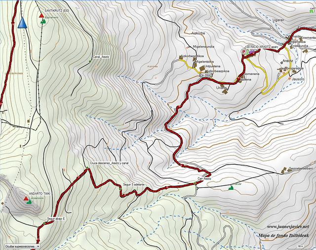AIZKORRI raizk021 mapa27 detalle IBILBIDEAK Aranzadi valles Degurixa y Araotz