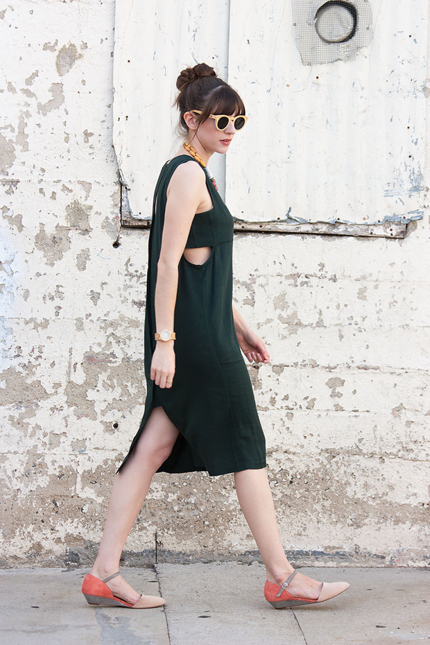 Green Midi Cut Out Dress, Colorblock Shoes