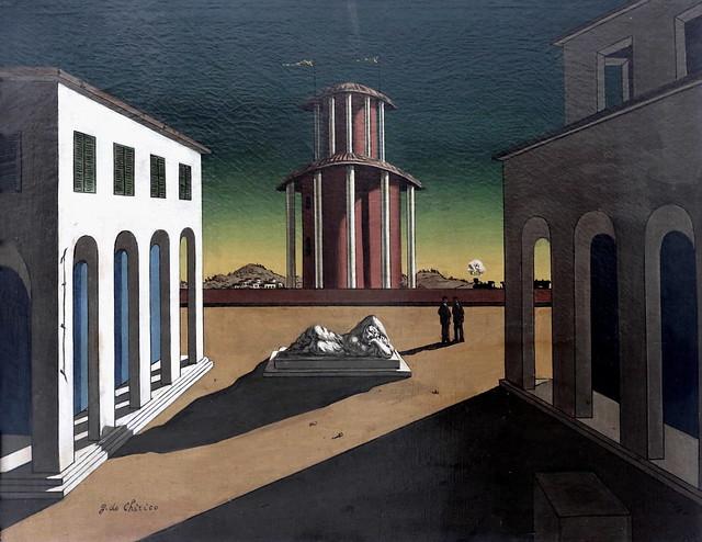IMG_6799F Giorgio de Chirico. 1888-1978. Piazza d'Italia Metafisica.  Place d'Italie métaphysique. Place d'Italie metaphysics. vers 1950. Mannheim. Kunsthalle.