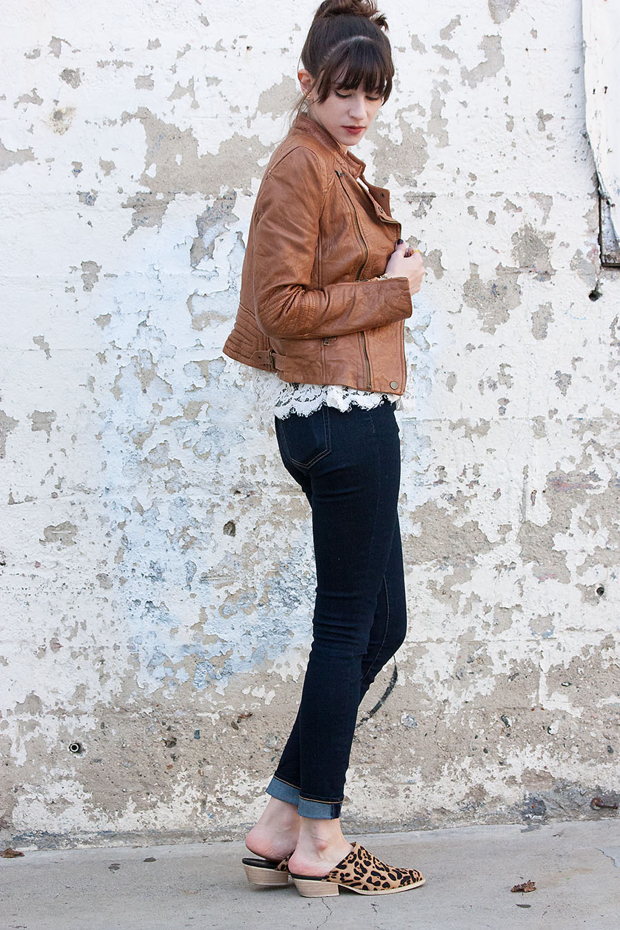 Tan Leather Jacket, Dark Skinny Jeans, Marais Mules