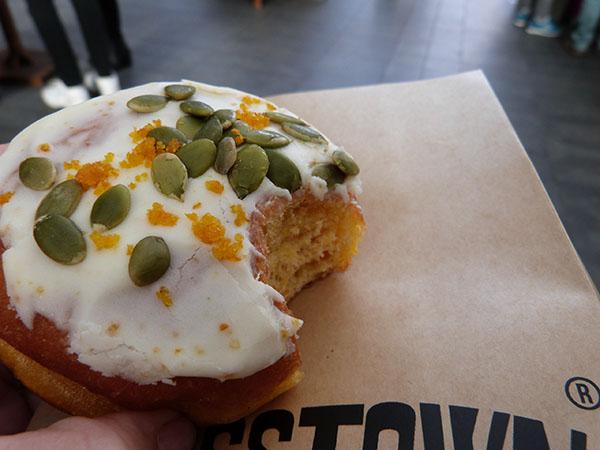 nutmeg and custard doughnut