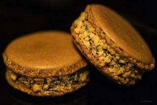 Chocolate-peanut macarons