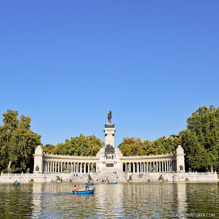 Retiro Park / Parque del Retiro is one of the most popular parks in Madrid. You can go for a walk, run, or even a romantic paddleboat ride in the pond. Click through to also see 21 Remarkable Things to Do in Madrid Spain).