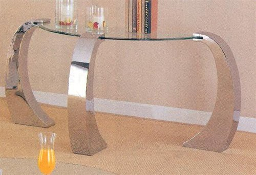 Unique Design Glass Top Occasional Sofa Console Table