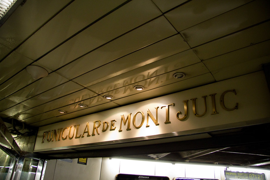 Sign for funicular to Montjuic