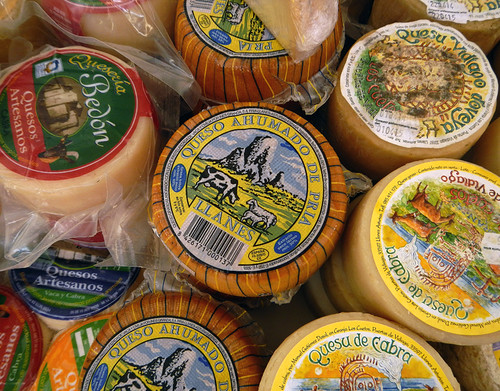 Cheese for sale in the Ribadesella market, Spain