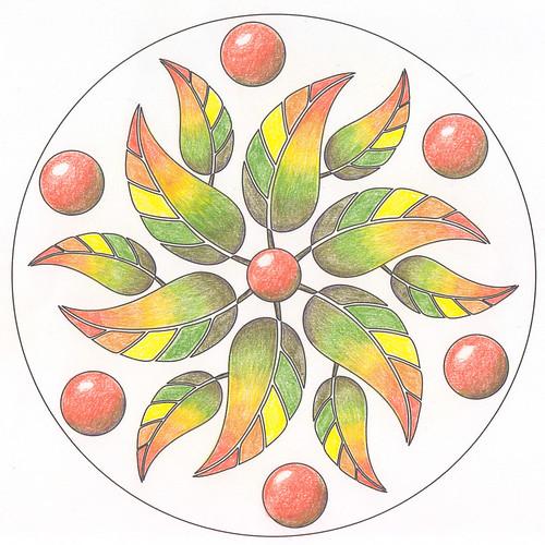 Mandala in coloured pencil