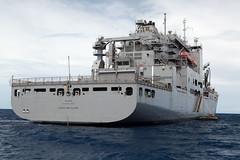 USNS Lewis and Clark (T-AKE 1) sits off the coast of Tarawa, Republic of Kiribati, after arriving for exercise Koa Moana. (U.S. Navy/Grady Fontana)