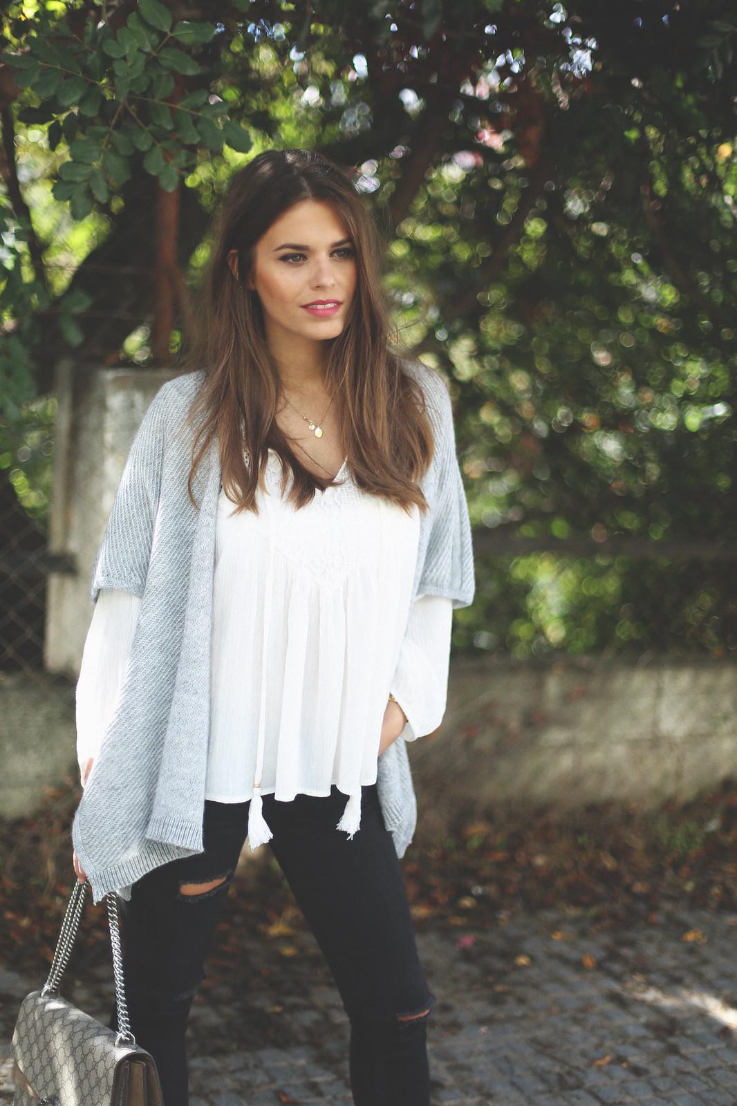 10. jessie chanes - grey poncho white boho blouse