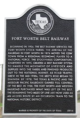 Photo of Fort Worth Belt Railway black plaque