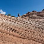 Climbing the butte, Aztec Butte, Canyonlands