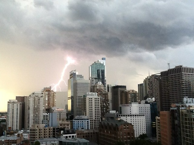 Lightning strikes downtown Sydney