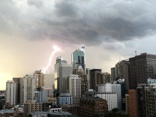 Lightning strikes downtown Sydney