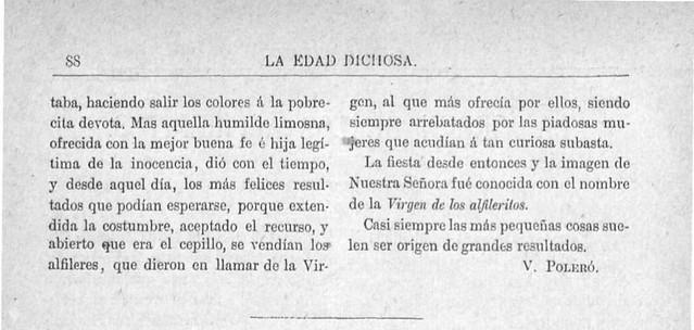 Tradición de la Virgen de los Alfileritos publicada en La Edad Dichosa el 2 de febrero de 1892 por Vicente Poleró (2)