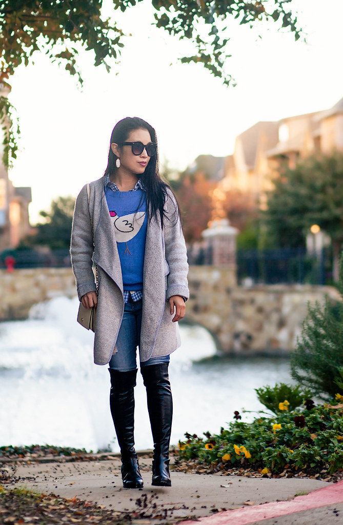 cute & little blog | petite fashion | stuart weitzman 5050 look for less, pretty small shoes strom otk boots, gray cardigan, ag distressed jeans, animal sweater | fall outfit