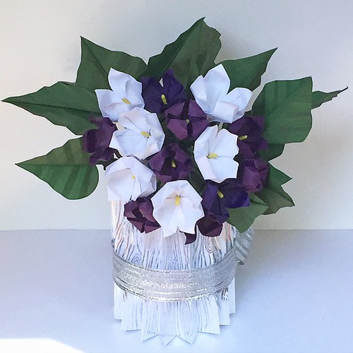Purple and White Origami African Violets in Origami Woodgrain Vase