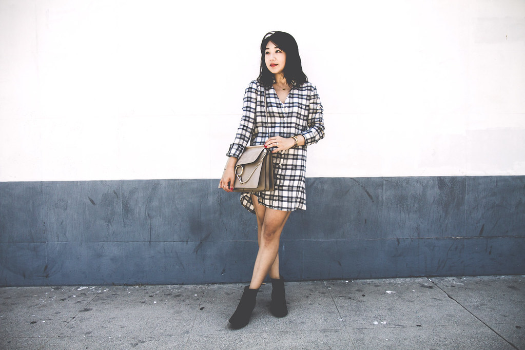 poshclassymom-bbdakota-plaid-shirt-dress-express-vegan-leather-jacket-chloe-faye-hm-booties-street-style-5