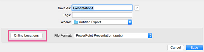 Save Powerpoint to onedrive mac