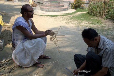 Making of mask bamboo skeleton Shamagauri Satra Majuli