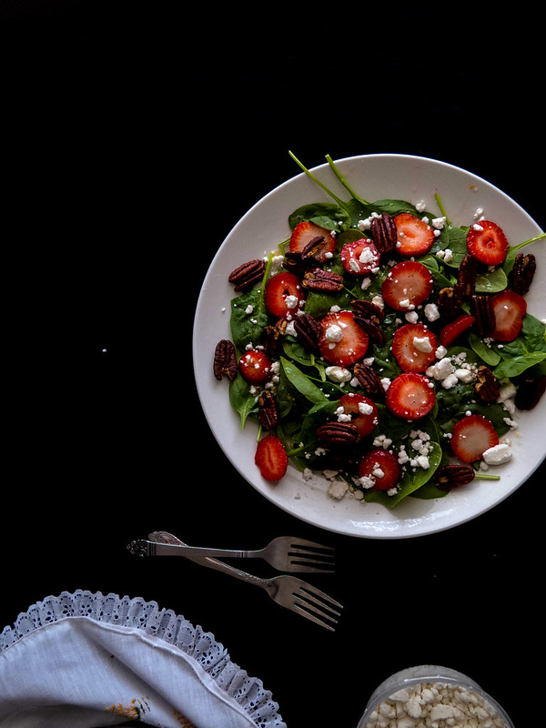 Strawberry Roasted Pecan & Goat Cheese topped Spinach Salad with a Balsamic Vinaigrette