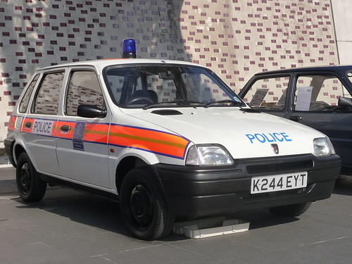 1992 Austin Metro_Police Car_Coventry Transport Museum_Hales Street_Coventry_Oct15
