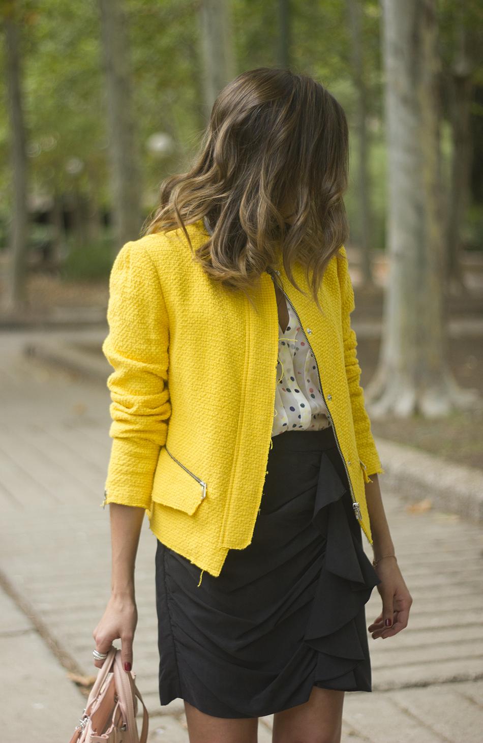 Yellow Jacket Draped Grey Skirt Outfit18