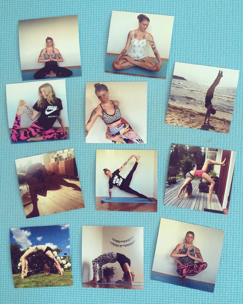 Jag har framkallat yogabilder på mina favoritövningar, 10x10 cm, som nog ska kunna inspirera mig till ett riktigt fint pass! (Bilder från #helenyogar.)