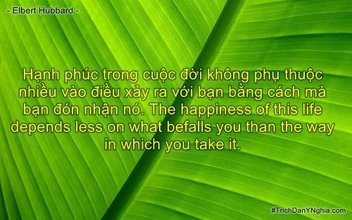Hạnh phúc trong cuộc đời không phụ thuộc nhiều vào điều xảy ra với bạn bằng cách