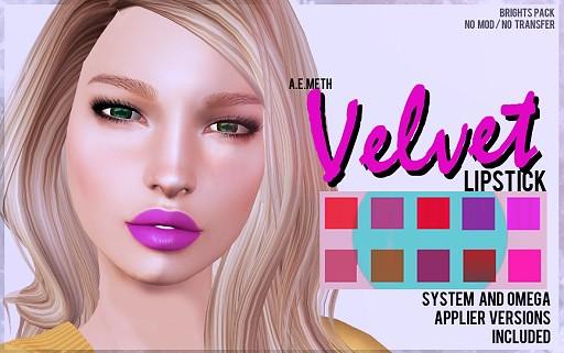 [ a.e.meth ] - Velvet Lipstick (Brights Pack)