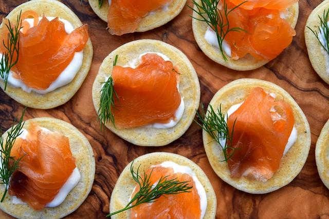 Gin & Dill Cured Salmon and Creme Fraiche Bilinis | www.rachelphipps.com @rachelphipps
